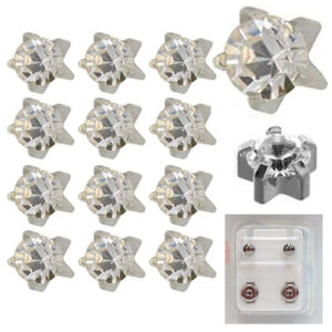 104W - April Birthstar White Caflon Ear Stud Pack of 12
