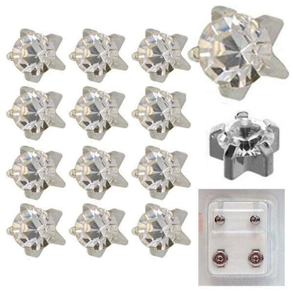 104W - April Birthstar White Caflon Ear Stud Pack of 12