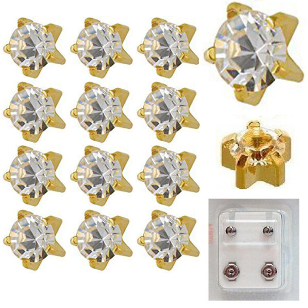 104Y - April Birthstar Yellow Gold Color Caflon Ear Stud Pack of 12