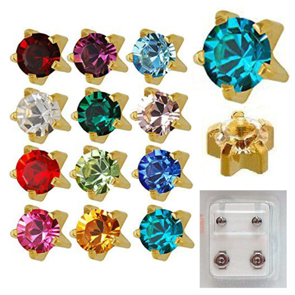 113Y - Month Birthstar Yellow Gold Color Caflon Ear Stud Pack of 12