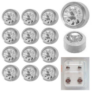 204W -  April BirthStone Bezel Caflon Ear Stud Pack of 12
