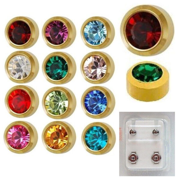 213Y - Month BirthStone Yellow Gold Bezel Caflon Ear Stud Pack of 12