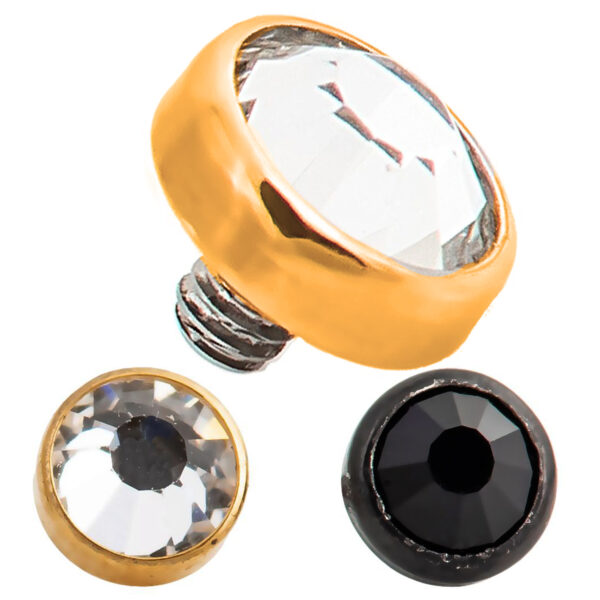 DM02 - Titanium  Dermal Bezel CZ 1.2mm Screw  Top Sold Piece