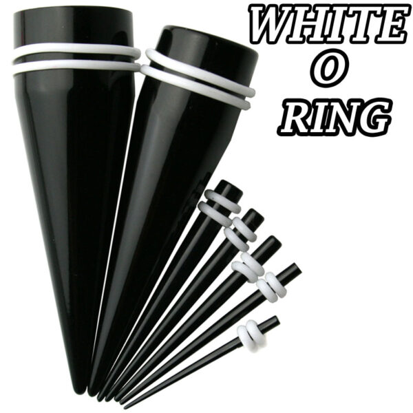 EX1KW - Black Color Acrylic White Oring Expander Sold as Pair