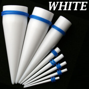 EX1WB - White Color Blue O-ring Acrylic Expander Sold as Pair