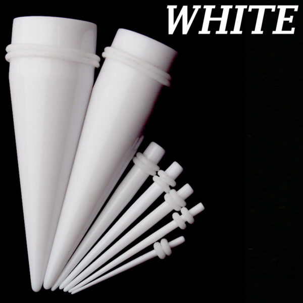 EX1WW - White Color White O-ring Acrylic Expander Sold as Pair