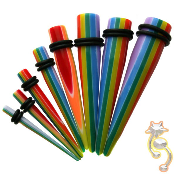 EX10 - (CLOSEOUT) Acrylic Stripe Print Expander/Taper Oring Sold as Pair