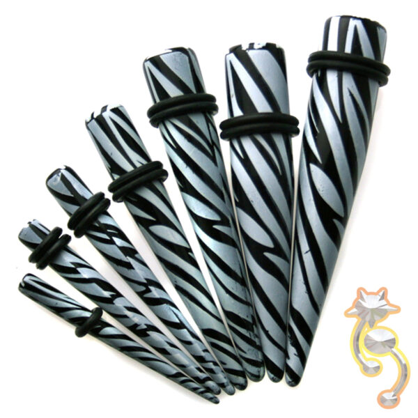 EX5 - (CLOSEOUT) Acrylic Zebra Print Expander/Taper Oring Sold as Pair