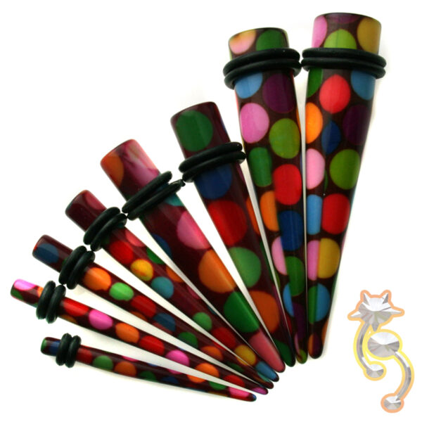 EX7 - (CLOSEOUT) Acrylic  Bubble Print Expander/Taper Oring Sold as Pair