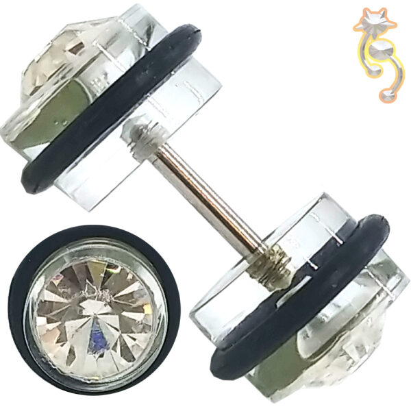 FP4 - Acrylic Fake Plug with Double CZ and O-ring Sold as Pair