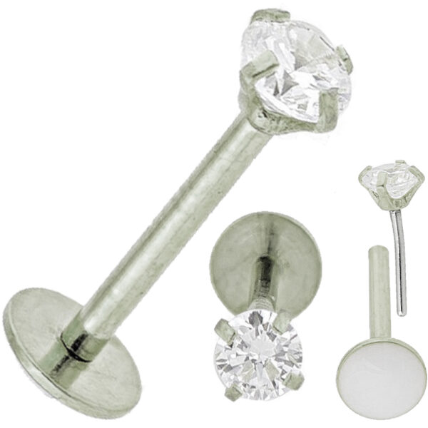 LB17S - Steel Prong Set Push In Labret