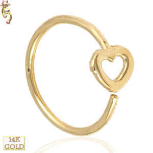 14-CT06 - 14k Solid Gold 22g Thickness  Hoops Piercing Hollow Heart Design