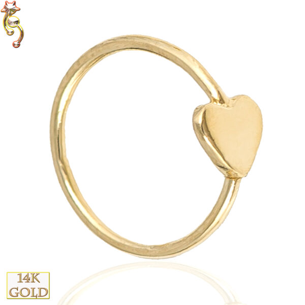 14-CT21 - 14k Solid Gold 22g Thickness Hoops Piercing Heart Design