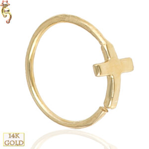 14-CT22 - 14k Solid Gold 22g Thickness Hoops Piercing Cross Design