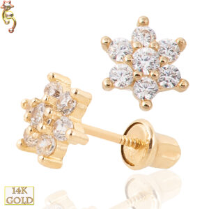 14-ES01 - 14k Screw Back Earrings Prong Set 6 Petal Flower  Pair