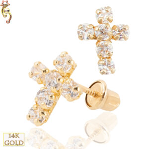 14-ES03 - 14k Screw Back Earrings 8x6.4mm Cross Design CZ Sold Pair