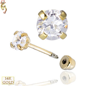 14-ES04YC - 14k Yellow Gold Earrings Prong Set Round Cubic Zircona