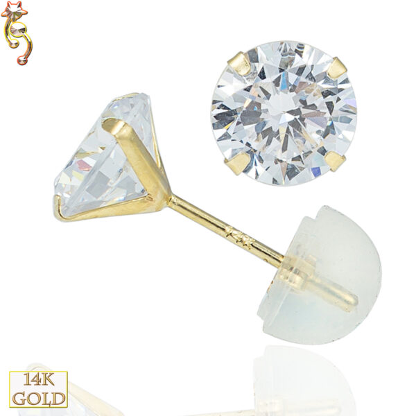 14-ES05YC - 14k Stamping Point  Gold Ear Stud Round CZ  Pair
