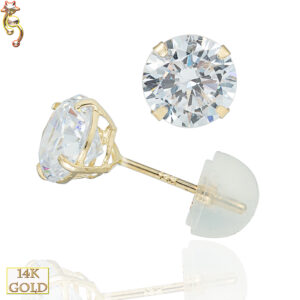 14-ES06YC - 14k Casting Yellow Gold Ear Stud Round CZ Pair