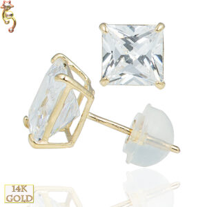 14-ES07YC - 14k Casting Yellow Gold Ear Stud Square CZ Pair