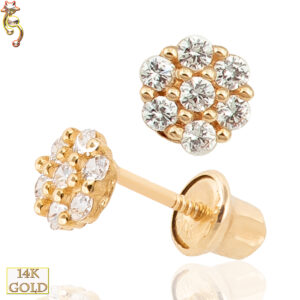 14-ES10 - 14k Gold Screw Back Earrings  4mm Flower Design Pair