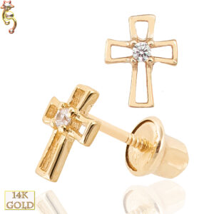 14-ES13 - 14k Screw Back Earrings 6x5mm Cross Hollow Design  Pair