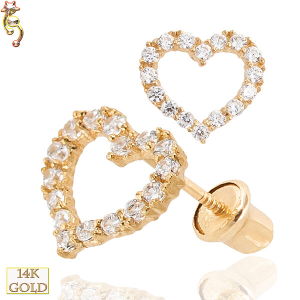 14-ES14 - 14k Gold Screw Back Earrings 7x6.5mm Hollow Heart Design Pair
