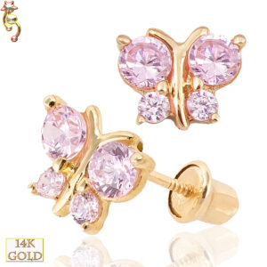 14-ES15 - 14k Screw Back Earrings 5x6mm Butterfly Design Pair