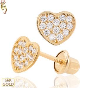 14-ES16 - 14k  Gold Screw Back Earrings 5x6mm Heart  CZ Design  Pair