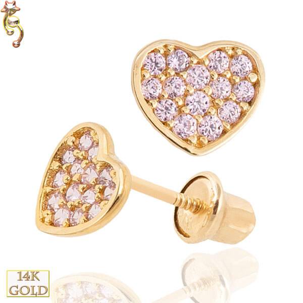 14-ES16 - 14k  Gold Screw Back Earrings 5x6mm Heart  CZ Design  Pair