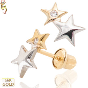 14-ES17 - 14k Gold Screw Back Earrings 5x8mm Double Star Design Pair