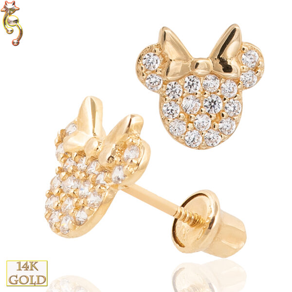 14-ES18 - 14k Screw Back Earrings Mouse Head with Bow Design Pair