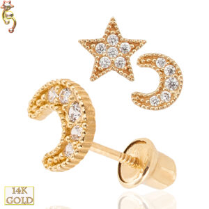 14-ES19 - 14k Gold  Screw Back Earring 6mm Star and 5.5x5mm Moon Pair