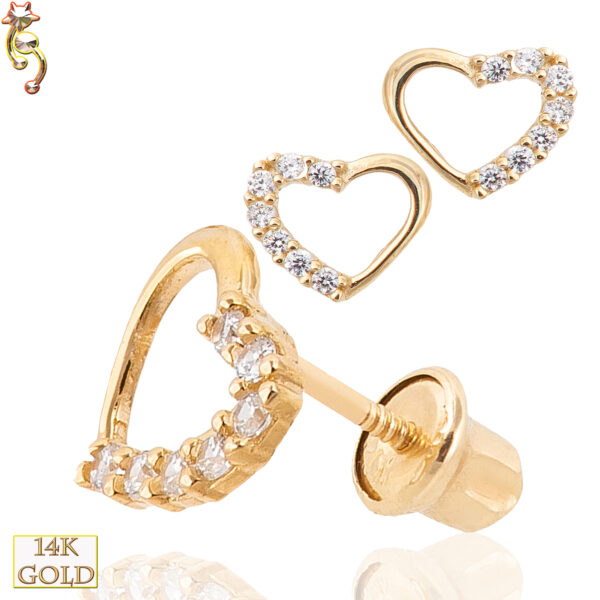 14-ES20 - 14k  Gold Screw Back Earrings Hollow Heart with CZ Pair