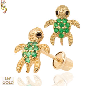 14-ES21 - 14k Gold Screw Back Earring 8x7mm Turtle w/ CZ Design Pair