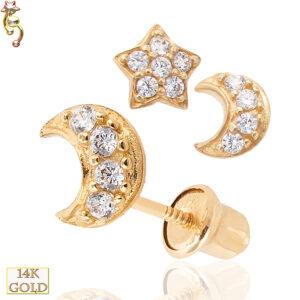 14-ES22 - 14k Gold Screw Back Baby Earring 5x5mm Star/Moon Pair