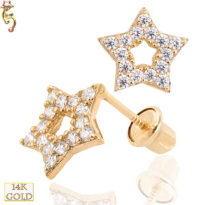 14-ES23 - 14k Gold Screw Back Earring 6.5mm Hollow Star w/ CZ  Pair