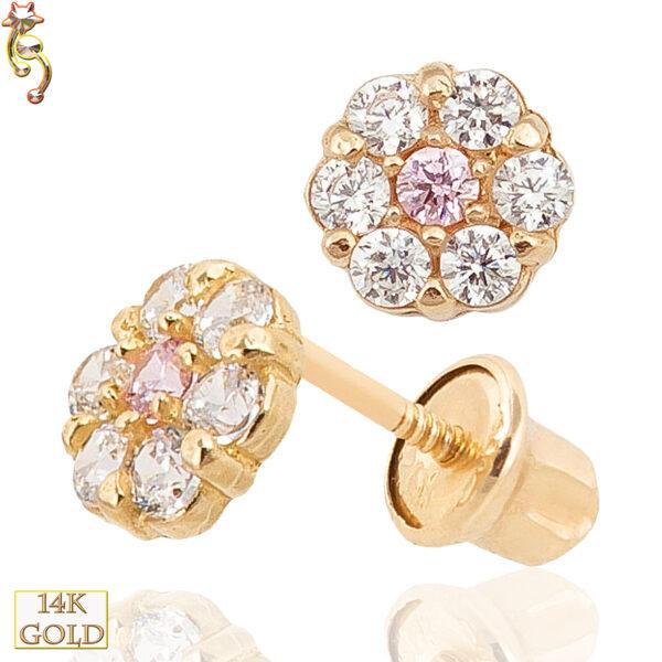 14-ES24 - 14k Gold Screw Back Earring 5mm Flower Design CZ Pair