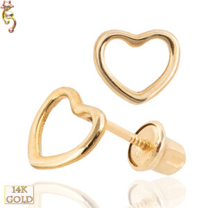 14-ES25 - 14k Gold Screw Back Earrings 5x6mm Hollow Heart Pair