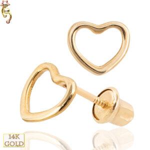 14-ES25 - 14k Gold Screw Back Earrings 5x6mm Hollow Heart Pair