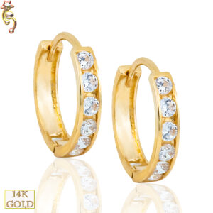 14-ES27 - 14k Gold Huggies Earrings 2mm Thick Front View 2 available Size  Pair