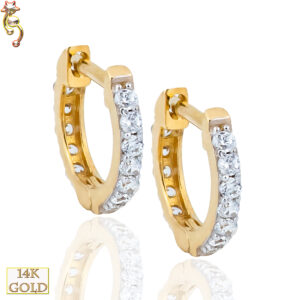14-ES28 - 14K Gold Huggies Earrings 1.2mm Thick Front View w/ 12 CZ Pair