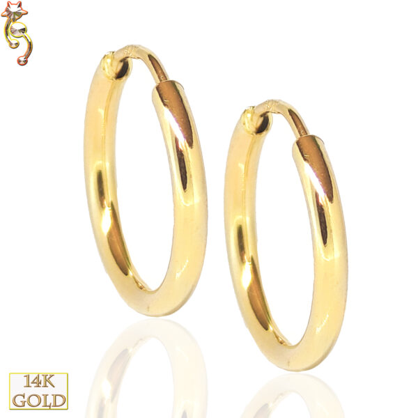 14-ES30 - 14k Solid Gold Plain Hoops Earring  0.6mm Wearable Thickness