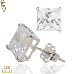 14-ES72WC - 14k Casting Yellow Gold Ear Stud Square CZ Pair