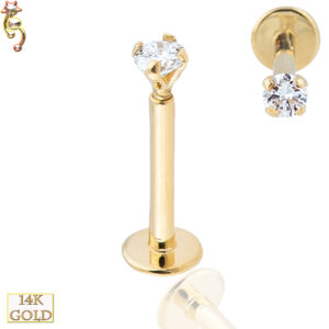 14-LB14 - 14k Solid Gold  Round Prong  Set CZ  Internally Threaded Labret