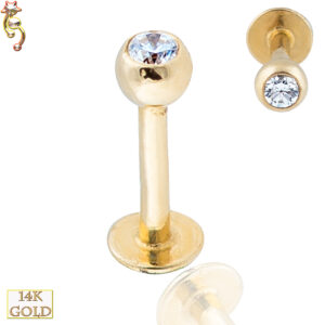 14-LB6 - 14k Solid Gold Plain Labret Externally Theaded Ball with CZ