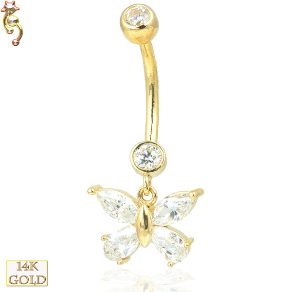 14-N001 - 14k Solid Gold Dangle Belly Ring with 8mm Butterfly Design