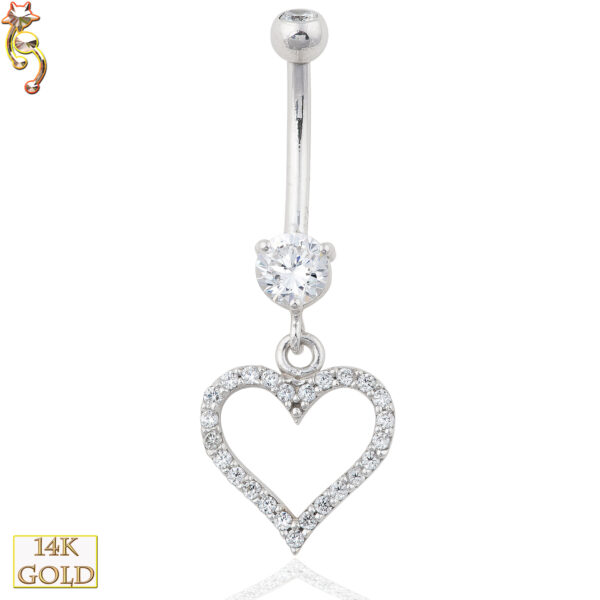 14-N002 - 14k Solid Gold Dangle Belly Ring with 12mm Heart Design