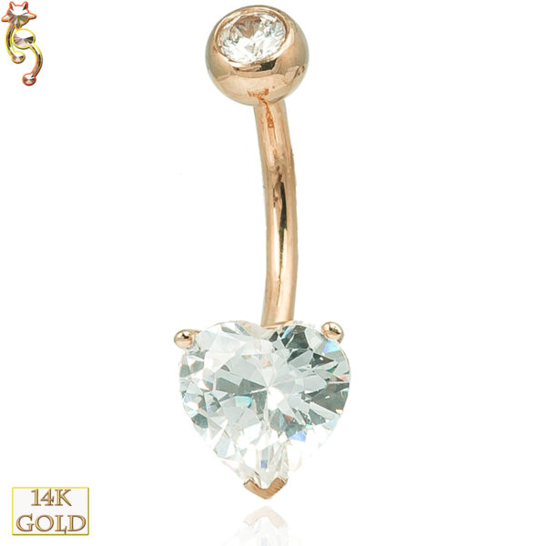 14-NB03 - 14k Solid Gold Banana Belly Ring Heart Prong Setting CZ