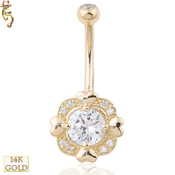 14-NB04 - 14k Solid Gold Banana Belly Ring with 4 Heart  Square